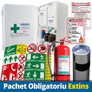 Pachet Obligatoriu Extins (Trusa Sanitara + 30 Autocolante obligatorii firme + Stingator P6 + Cos Gunoi cu Scrumiera)