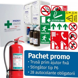 Pachet Promo (Trusa Sanitara Prim Ajutor Fixa + Stingator P6 + 28 Autocolante obligatorii firme)