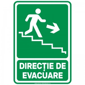 Indicator autocolant - Directie de Evacuare Trepte JOS DREAPTA - A5