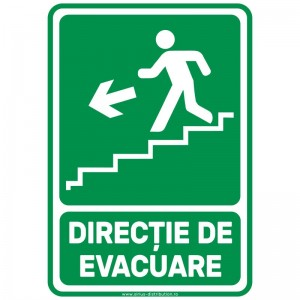 Indicator autocolant - Directie de Evacuare Trepte JOS STANGA - A5
