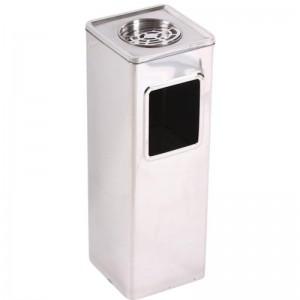 Cos de gunoi cu scrumiera si galeata interioara metalica 20*20*58 cm - 20L