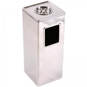 Cos de gunoi cu scrumiera si galeata interioara metalica 24*24*58 cm - 30L