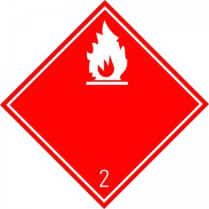 Eticheta ADR autocolanta Pericol Transport gaze inflamabile clasa 2.1a (300x300mm)