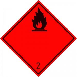 Eticheta ADR autocolanta Pericol Transport gaze inflamabile clasa 2.1n (300x300mm)