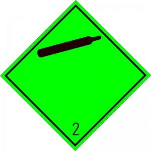 Eticheta ADR autocolanta Pericol Transport gaze neinflamabile netoxice clasa 2.2n (300x300mm)