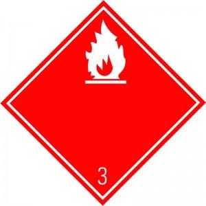 Eticheta ADR autocolanta Pericol Transport lichide inflamabile clasa 3a (300x300mm)
