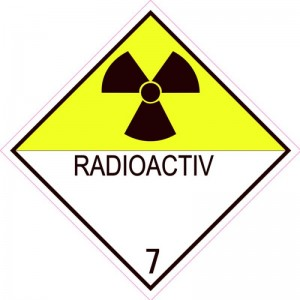 Eticheta ADR autocolanta Pericol Transport materiale radioactive clasa 7 (300x300mm)