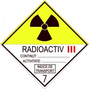 Eticheta ADR autocolanta Pericol Transport materiale radioactive clasa 7C (300x300mm)