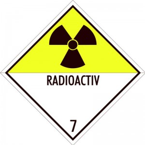 Eticheta ADR autocolanta Pericol Transport materiale radioactive clasa 7D (300x300mm)