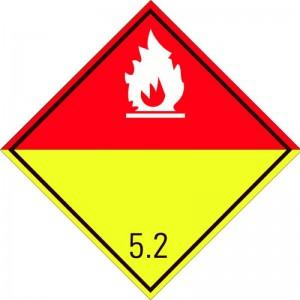 Eticheta ADR autocolanta Pericol Transport Peroxizi organici clasa 5.2a (300x300mm)
