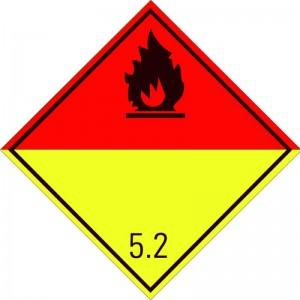 Eticheta ADR autocolanta Pericol Transport Peroxizi organici clasa 5.2n (300x300mm)