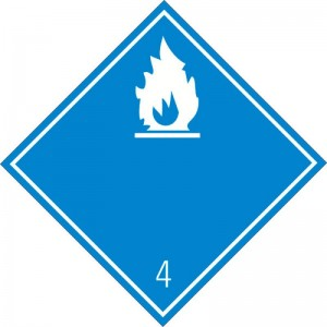 Eticheta ADR autocolanta Pericol Transport substante care in contact cu apa degaja gaze inflamabile clasa 4.3a (300x300mm)