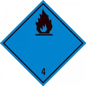 Eticheta ADR autocolanta Pericol Transport substante care in contact cu apa degaja gaze inflamabile clasa 4.3n (300x300mm)