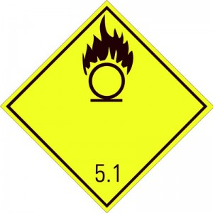 Eticheta ADR autocolanta Pericol Transport substante comburante carburanti clasa 5.1 (300x300mm)