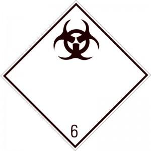 Eticheta ADR autocolanta Pericol Transport substante infectioase clasa 6.2 (300x300mm)