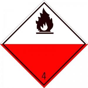 Eticheta ADR autocolanta Pericol Transport substante predispuse la ardere spontana clasa 4.2 (300x300mm)