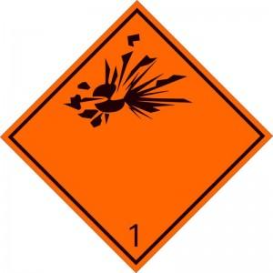 Eticheta ADR autocolanta Pericol Transport substante si obiecte explozive clasa 1 (300x300mm)