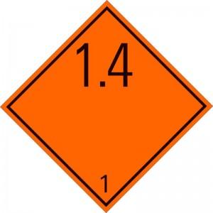 Eticheta ADR autocolanta Pericol Transport substante si obiecte explozive clasa 1.4 (300x300mm)