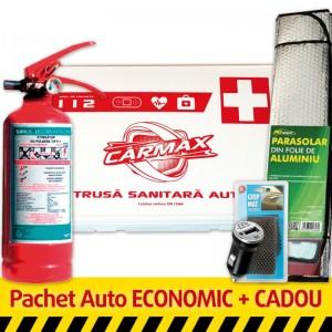 Pachet Auto ECONOMIC: Trusa sanitara auto Germania (valabila 5 ani) + Stingator P1 (valabil 5 ani) + CADOU