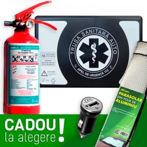 Pachet Auto SAFE: Trusa sanitara auto Romania aviz RAR si MSP (valabila 4 ani) + Stingator cu manometru P1 + CADOU la alegere
