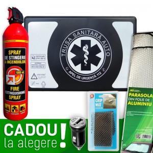 Pachet Auto BASIC: Trusa sanitara auto Romania aviz RAR si MSP (valabila 4 ani) + Stingator + CADOU la alegere