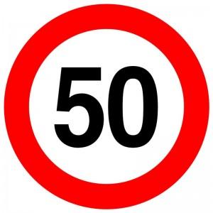 Autocolant - indicator limitare de viteza max 50 km/h - nereflectorizant (1 buc)