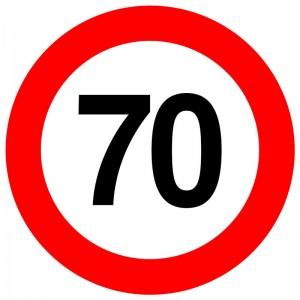 Autocolant - indicator limitare de viteza max 70 km/h - nereflectorizant (1 buc)
