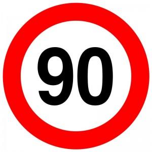 Autocolant - indicator limitare de viteza max 90 km/h - nereflectorizant (1 buc)