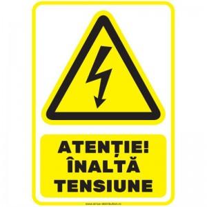 Indicator autocolant - ATENTIE! INALTA TENSIUNE - PVC plastifiat - A4 - 210x297mm (1 buc.)