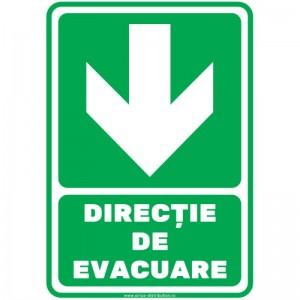 Indicator autocolant - DIRECTIE DE EVACUARE - jos - PVC plastifiat - A4 - 210x297mm (1 buc.)