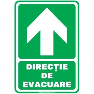 Indicator autocolant - DIRECTIE DE EVACUARE - sus - PVC plastifiat - A4 - 210x297mm (1 buc.)